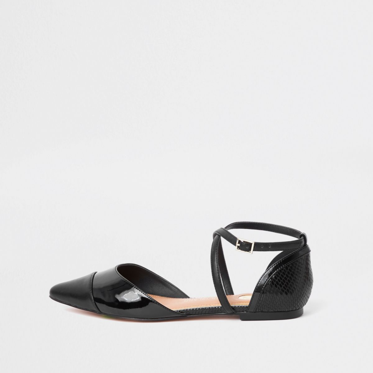 Black Pointed Strappy Shoes by River Island