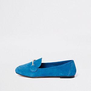 Blauwe suède loafers met brede pasvorm