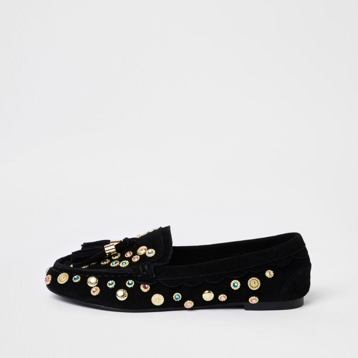 Black suede tassel embellished moccasins