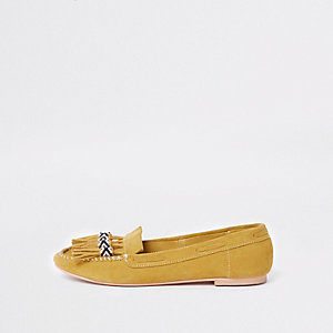 Yellow suede tassel moccasins