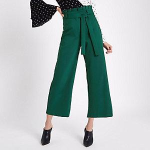 Jupe-culotte à carreaux vert foncé avec taille haute ceinturée