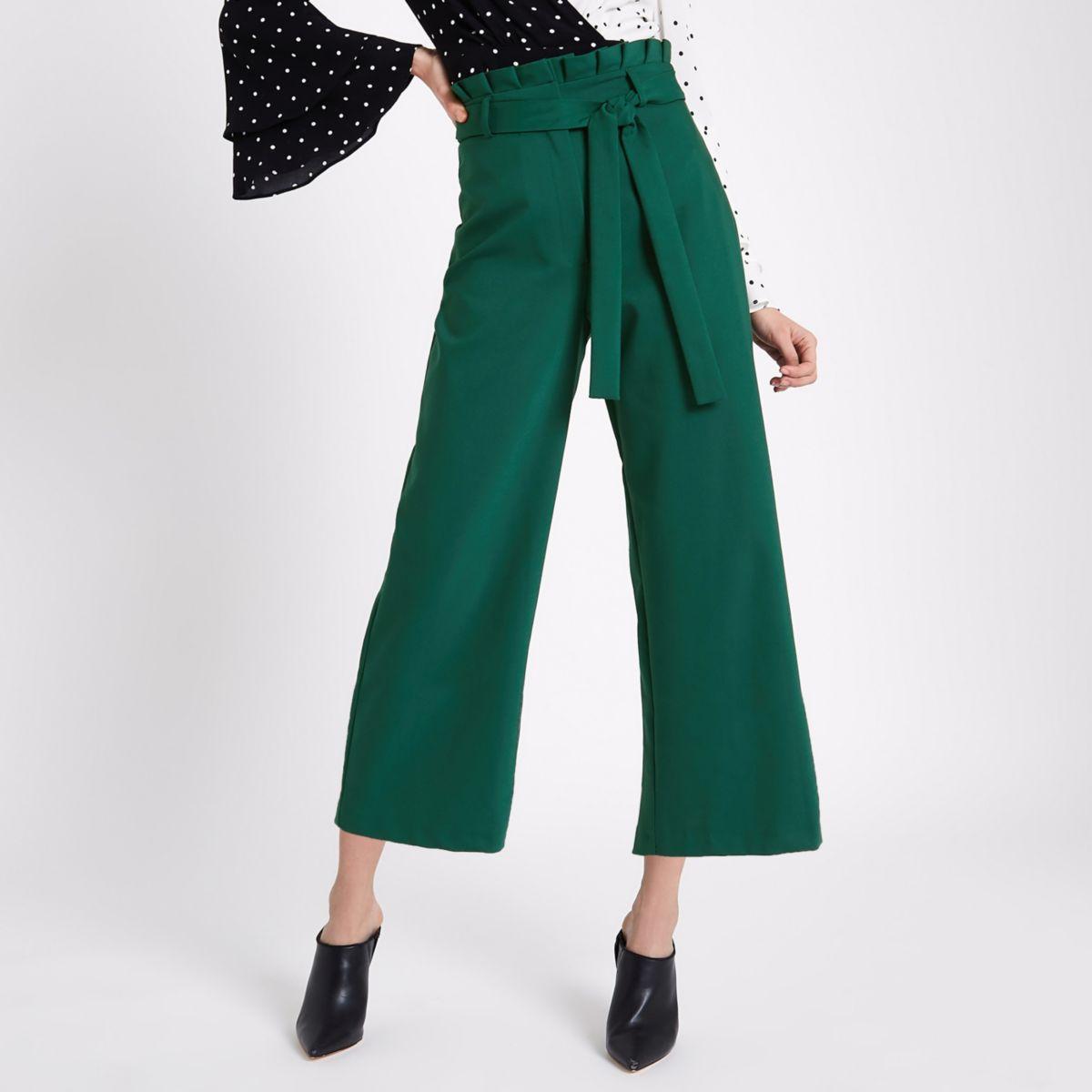 Dark green paperbag waist culottes