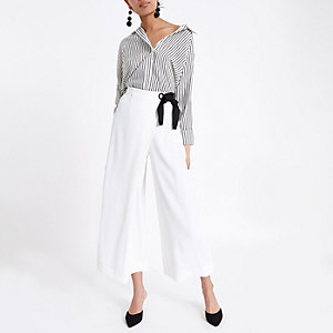 White eyelet tie side wrap culottes