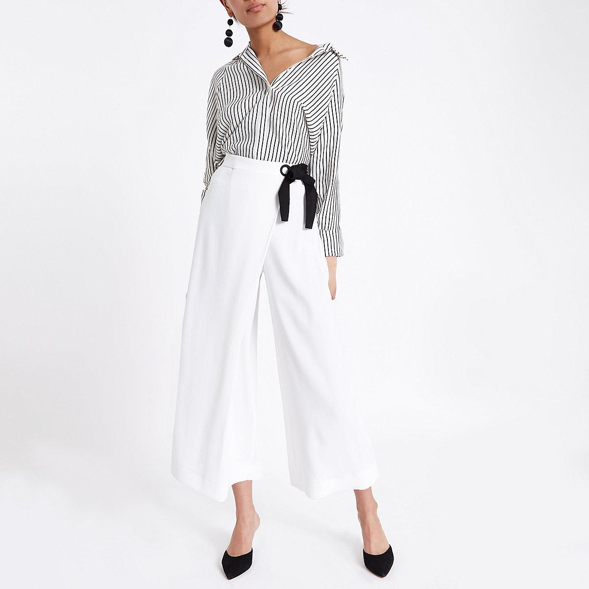 White eyelet tie side wrap culottes