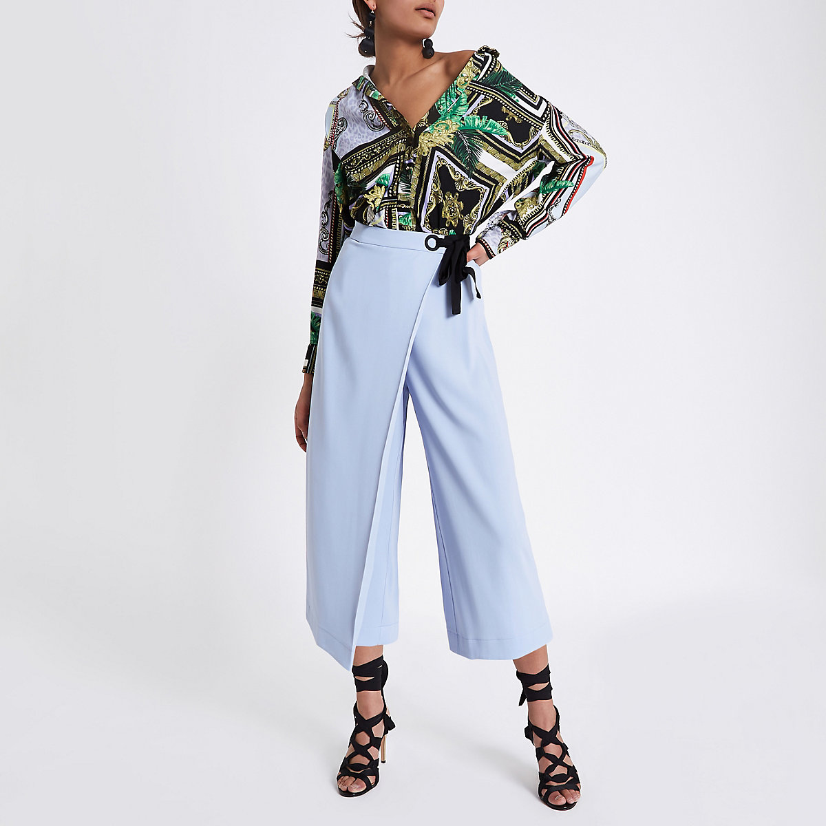 Light blue eyelet tie side wrap culottes
