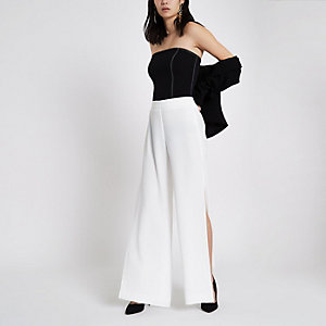 White wide leg high split pants