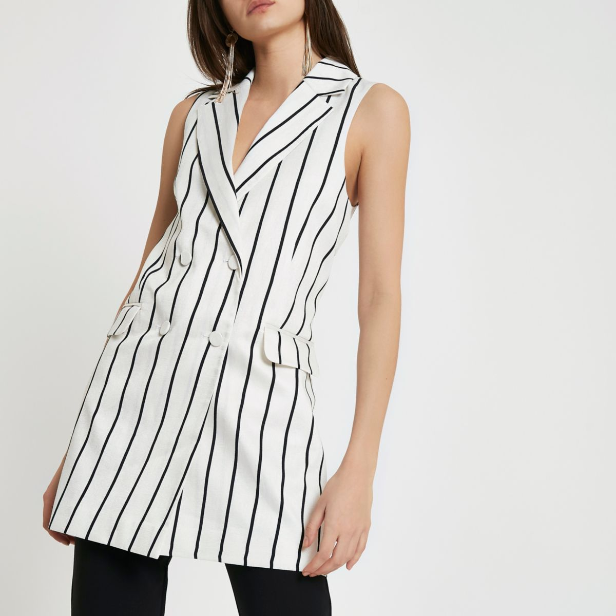 White stripe sleeveless blazer jacket