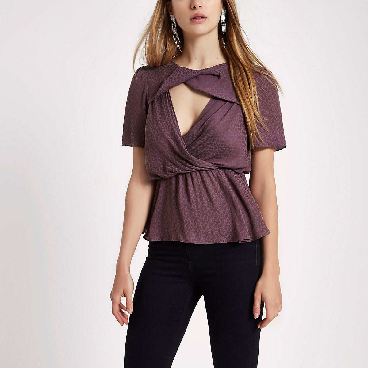 Dark purple leopard jacquard twist front top