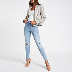 Harper – Blaue Super Skinny Jeans mit hohem Bund