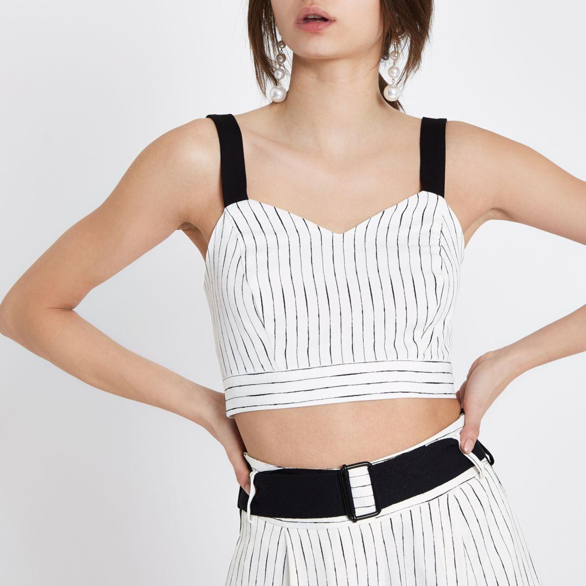 White stripe print cami bralette