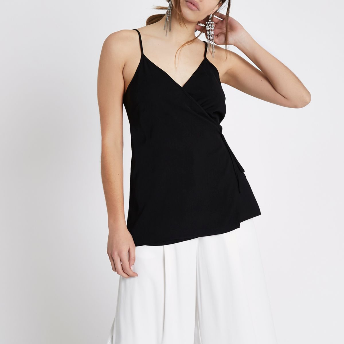 Black wrap cami tank top