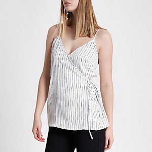 White stripe wrap cami top
