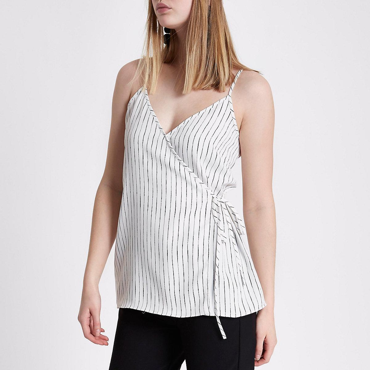 White stripe wrap cami top