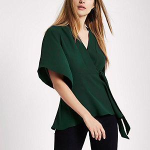 Dark green kimono sleeve tie side top