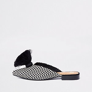 Black wide fit pointed backless loafers