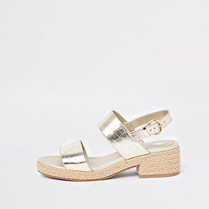 Sandales façon espadrilles en deux parties dorées métallisées
