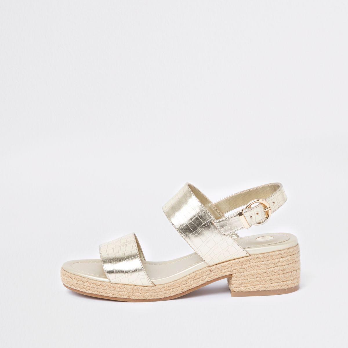 Gold metallic two part espadrille sandals