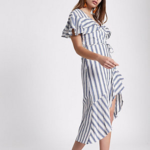 Blue stripe frill tie waist midi dress
