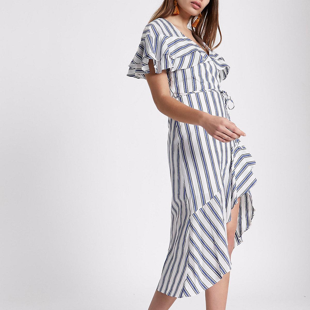 Blue stripe frill tie waist midi dress
