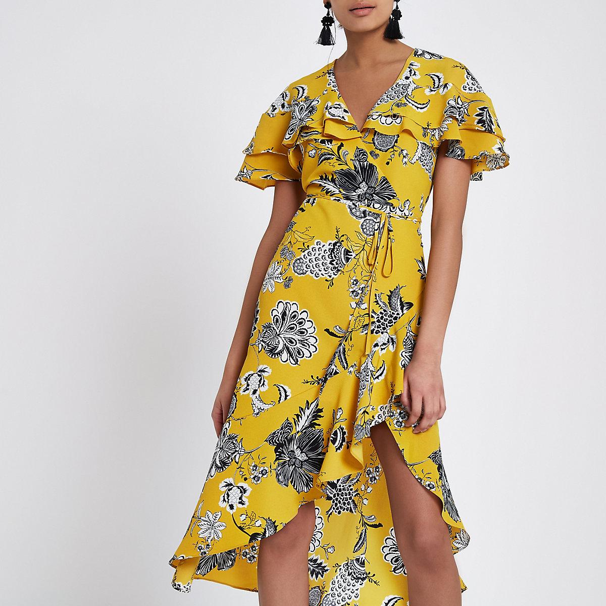 Yellow floral frill tie waist wrap midi dress