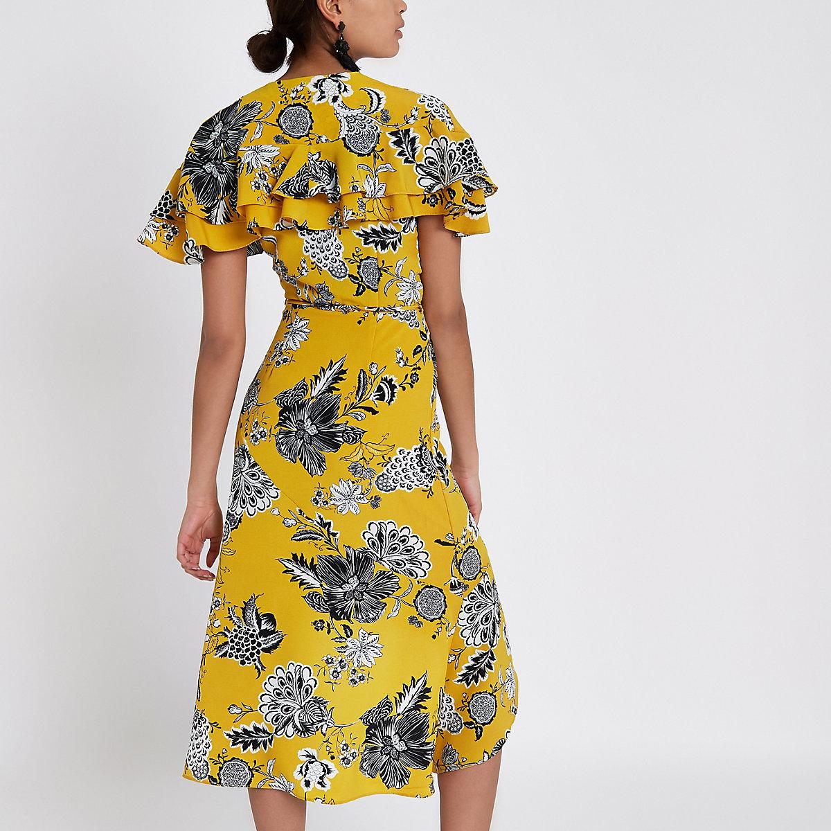 Yellow floral frill tie waist wrap midi dress - Swing Dresses ... 00bb66af4