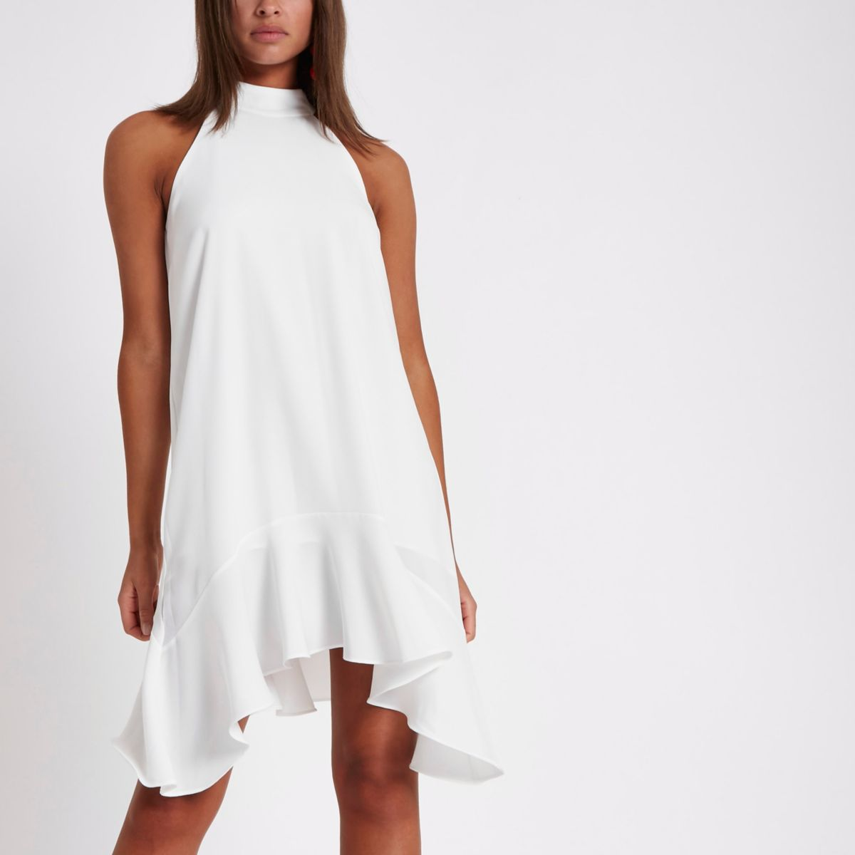 White tie back frill hem shift dress
