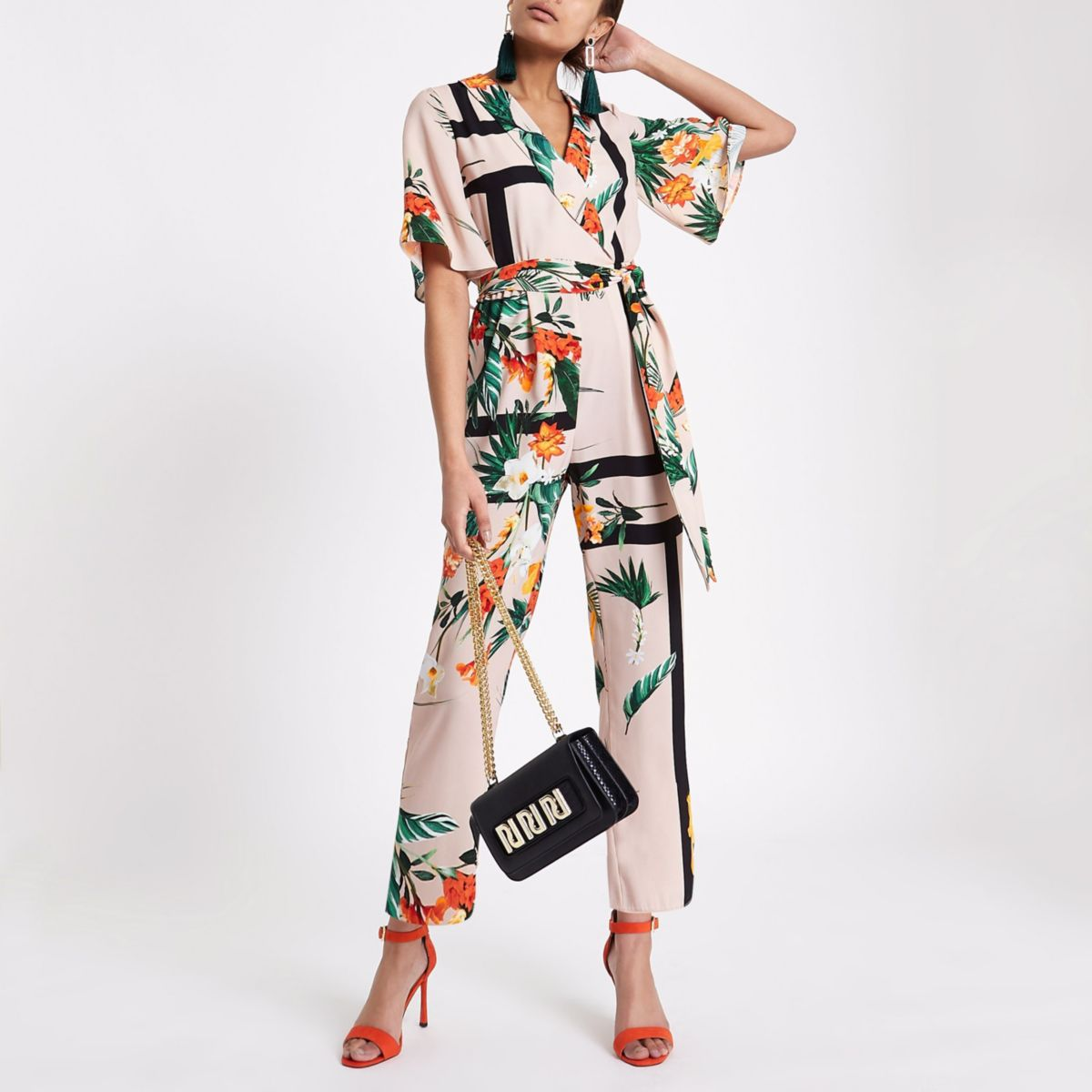Beige tropical wrap tie waist jumpsuit