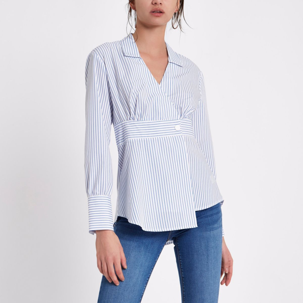 White stripe print long sleeve shirt