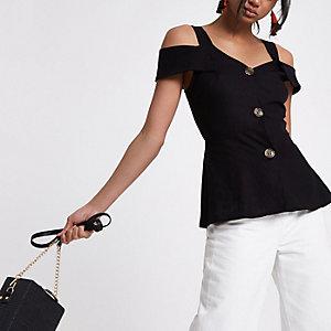 Schwarzes Bardot-Trägertop mit Knopfverschluss