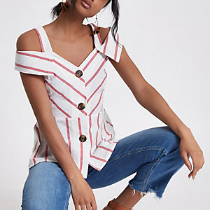 Red stripe button bardot cami top