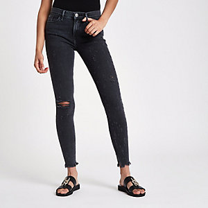 Black wash Amelie skinny ripped jeans