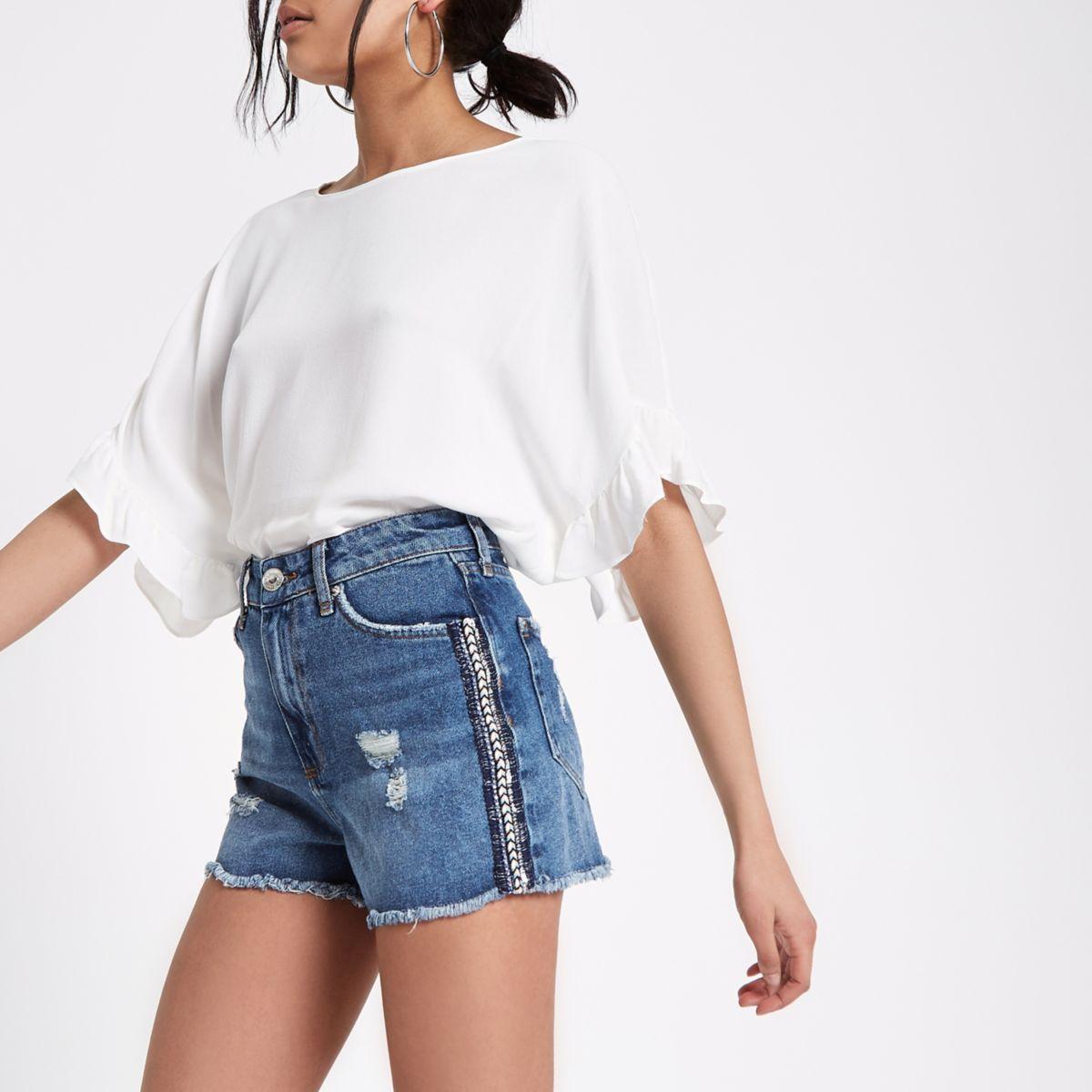 Mid blue Annie side stripe denim shorts