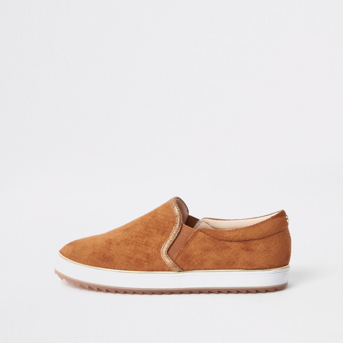 Light brown slip on plimsolls