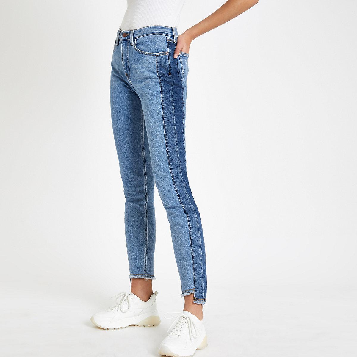 Casey - Blauwe slim-fit jeans met donker zijpaneel