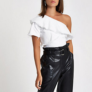 White one shoulder denim frill top