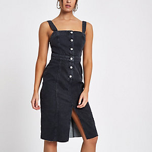 Black fitted button through denim midi dress