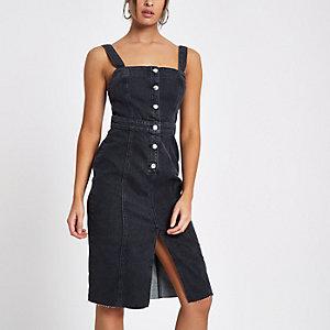 Zwarte aansluitende denim midi-jurk met doorlopende knoopsluiting