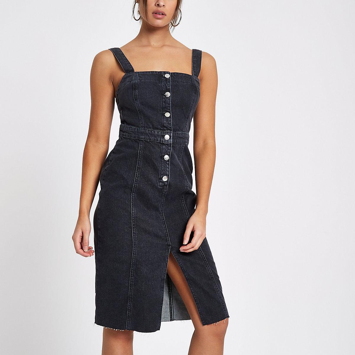 Black fitted button down denim midi dress
