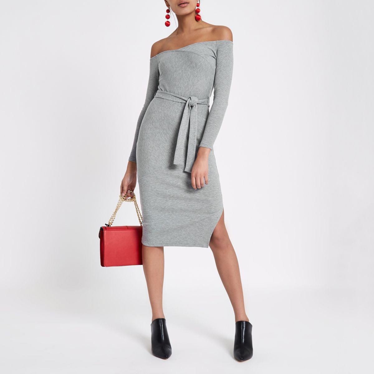Grey ribbed bardot jersey bodycon dress