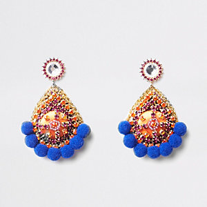 Blue pom pom rhinestone stud earrings