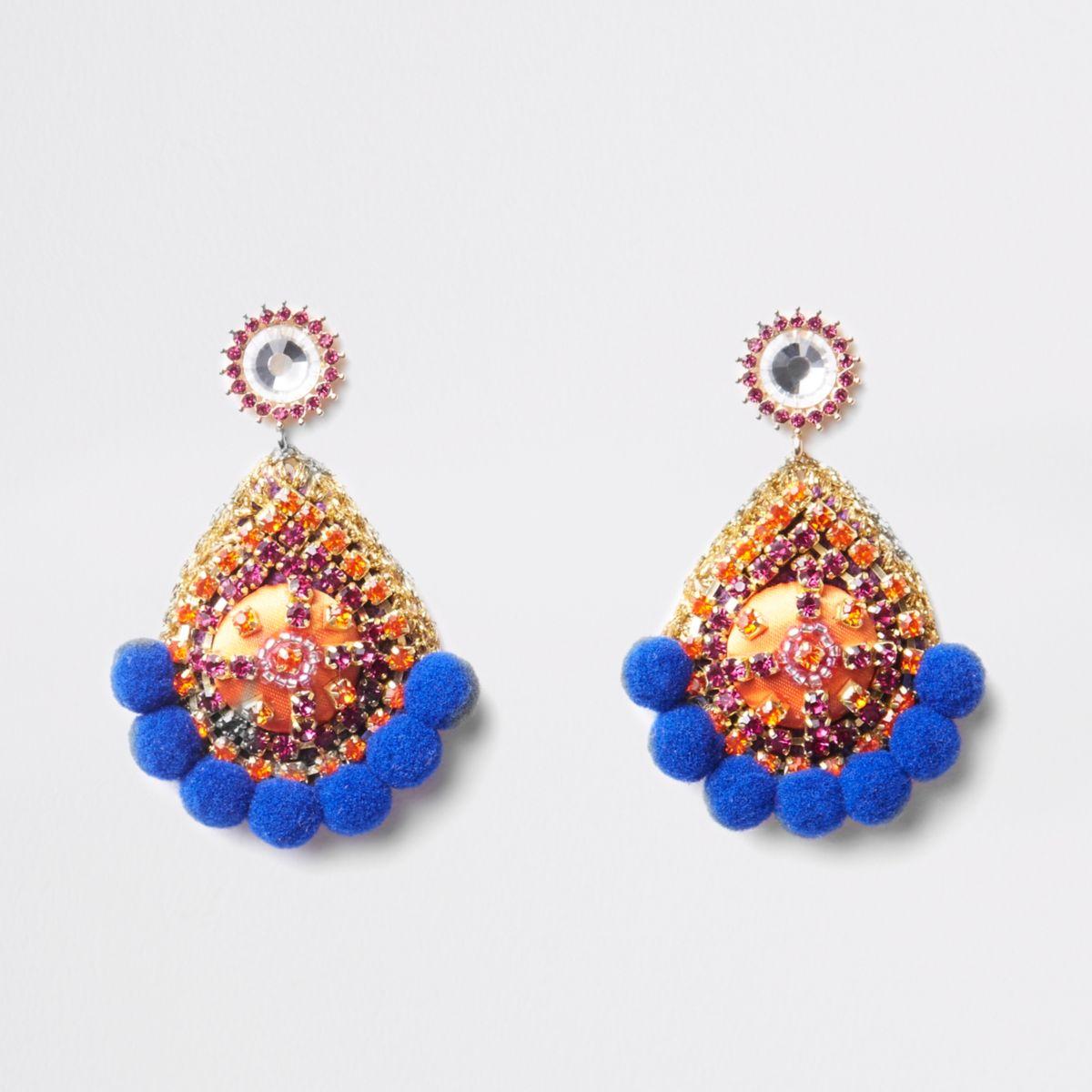 Blue pom pom rhinestone stud earrings