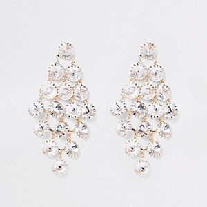 Gold tone rhinestone encrusted drop earrings