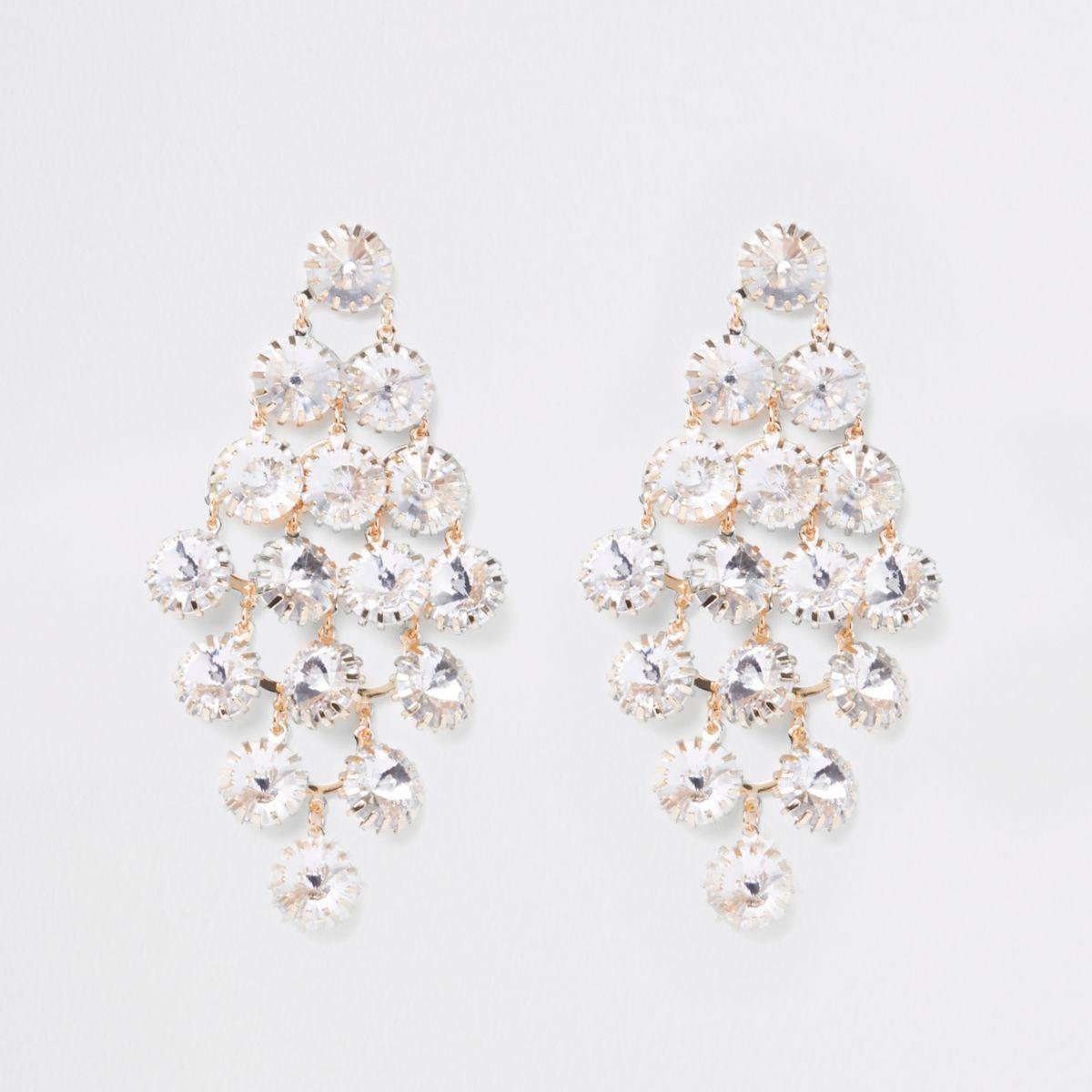 Gold tone rhinestone encrusted drop earrings