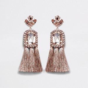 Rose gold tone jewel tassel drop earrings