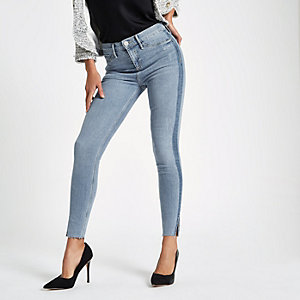 Light blue Molly mid rise raw hem jegging