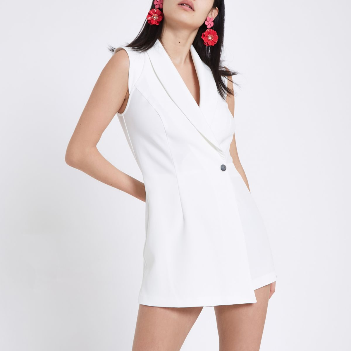 White Tux Sleeveless Wrap Playsuit by River Island
