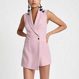 Light pink tux sleeveless wrap romper