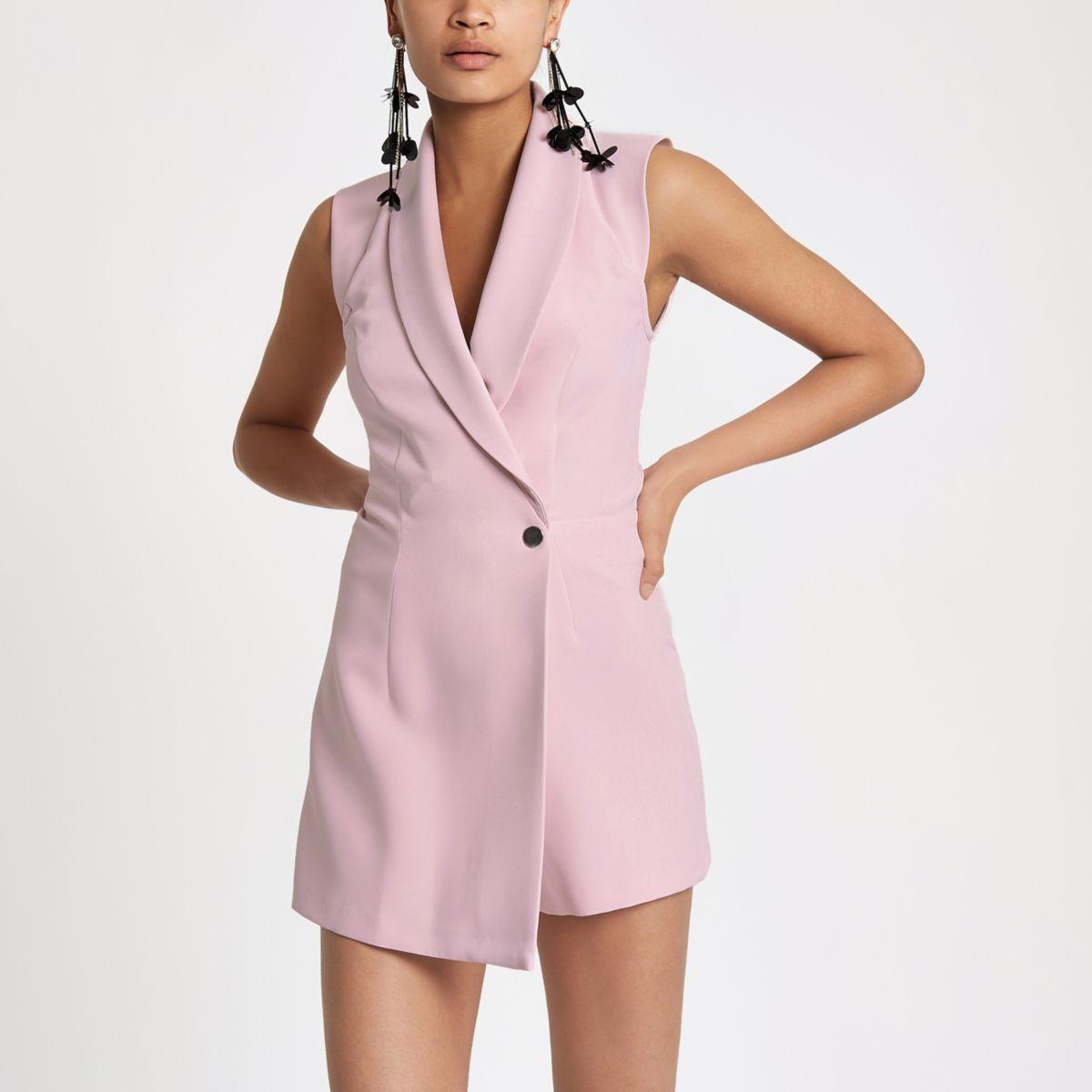 Light pink tux sleeveless wrap playsuit