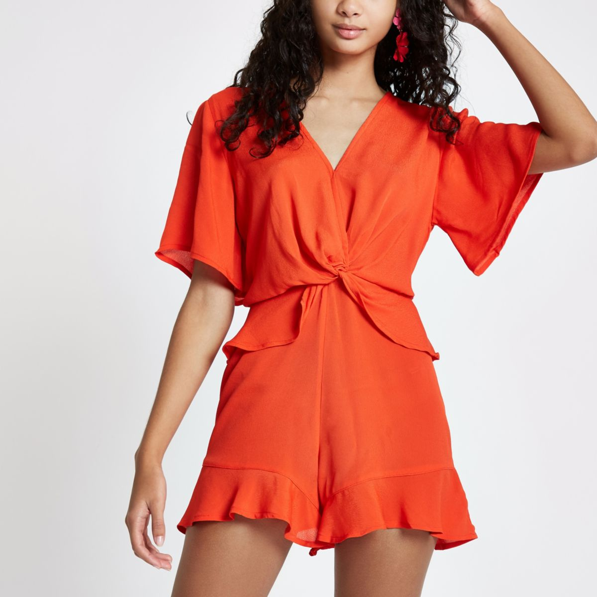 Red knot front frill romper