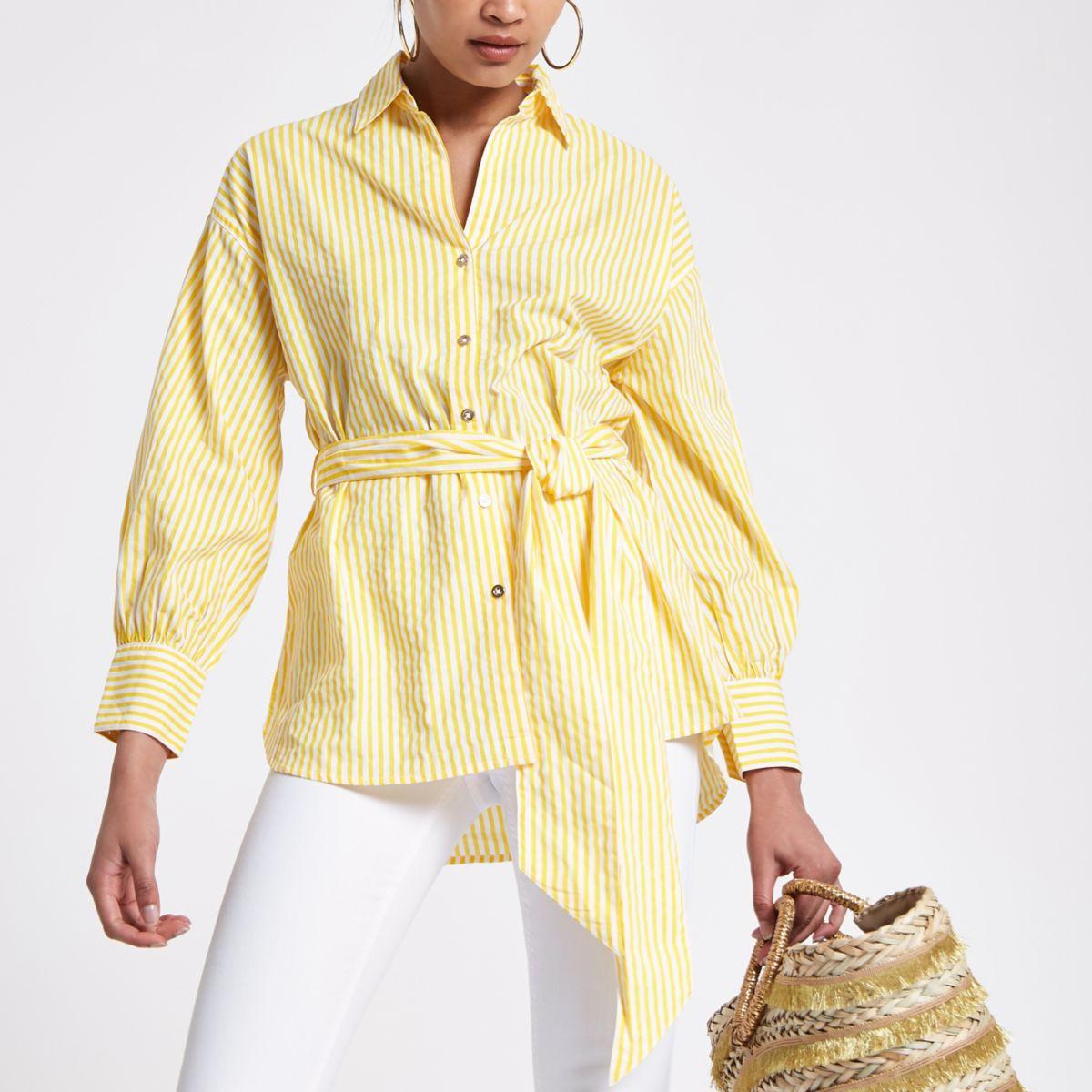 Yellow stripe print tie waist shirt
